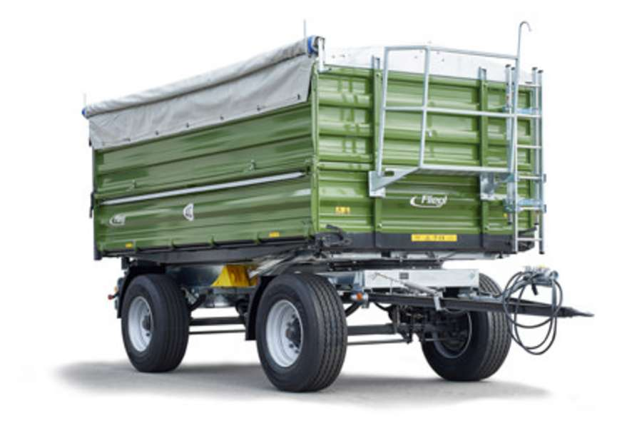 Two-axle three-way tipper