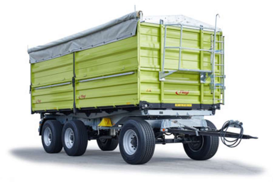 Three-axle three-way tipper